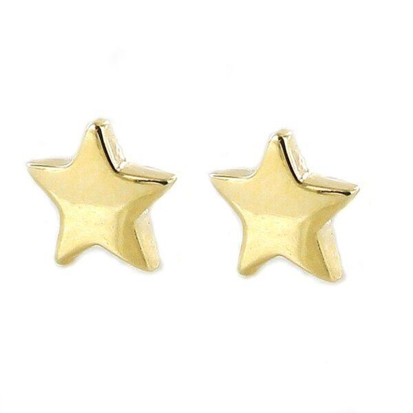 Pendientes estrella plata chapada en oro