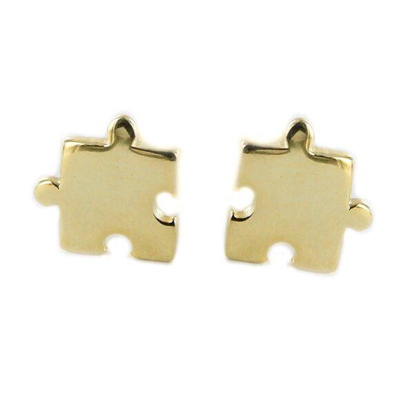 Pendientes puzzle plata chapada en oro