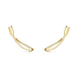 Pendientes trepadores flecha plata de ley chapada en oro