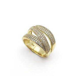 Sortija plata de primera ley chapada en oro circonitas