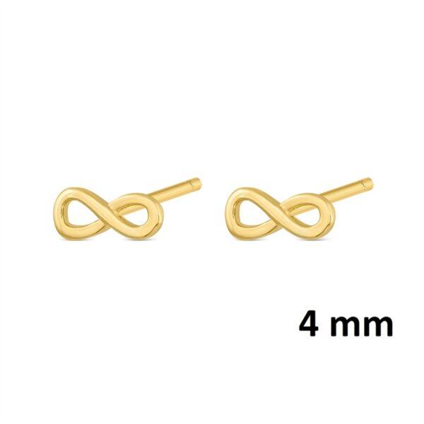 Pendientes mini infinito plata chapada en oro 345