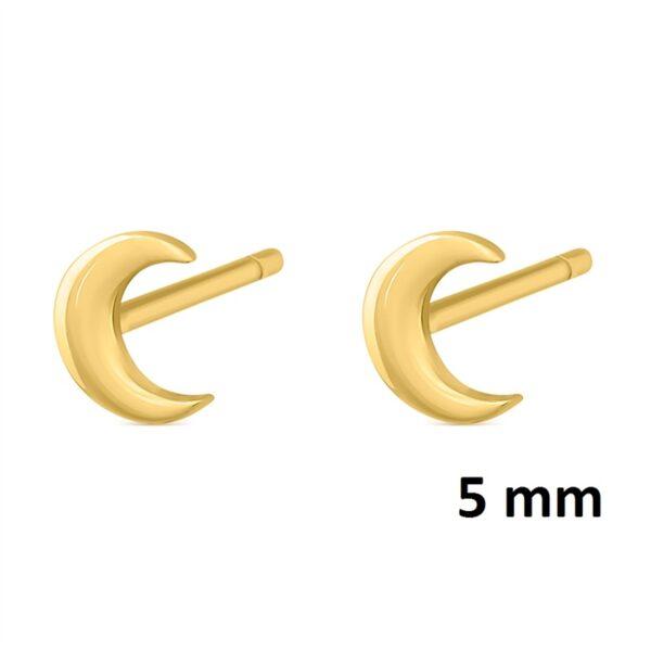 Pendientes mini luna plata chapada en oro 345