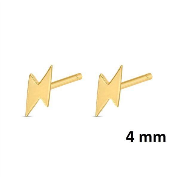 Pendientes mini rayo plata chapada en oro 345