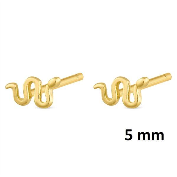 Pendientes mini serpiente plata chapada en oro 345