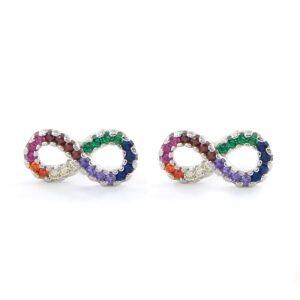 Pendientes plata de ley infinito circonitas multicolor