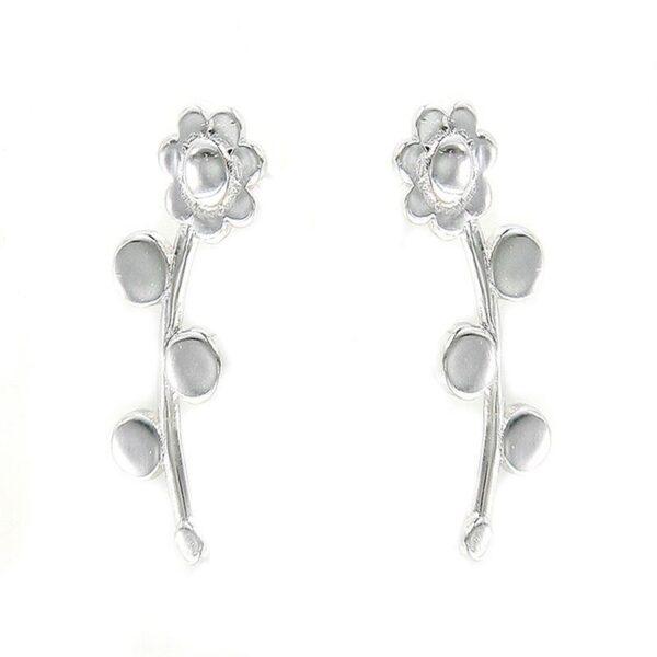 Pendientes plata de ley trepadores flor