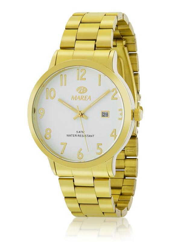 Reloj Marea Hombre dorado calendario