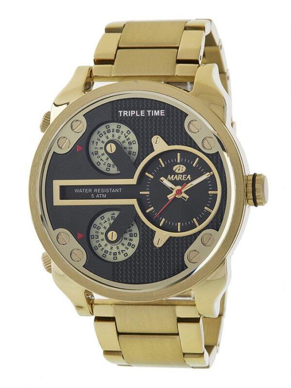 Reloj Marea Hombre dorado triple time